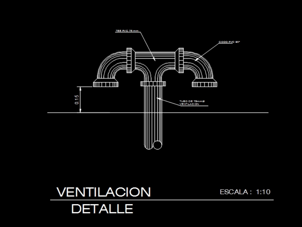 Ventilation pvc pipe in 75 mm diameter