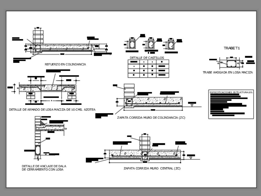 Various structural details