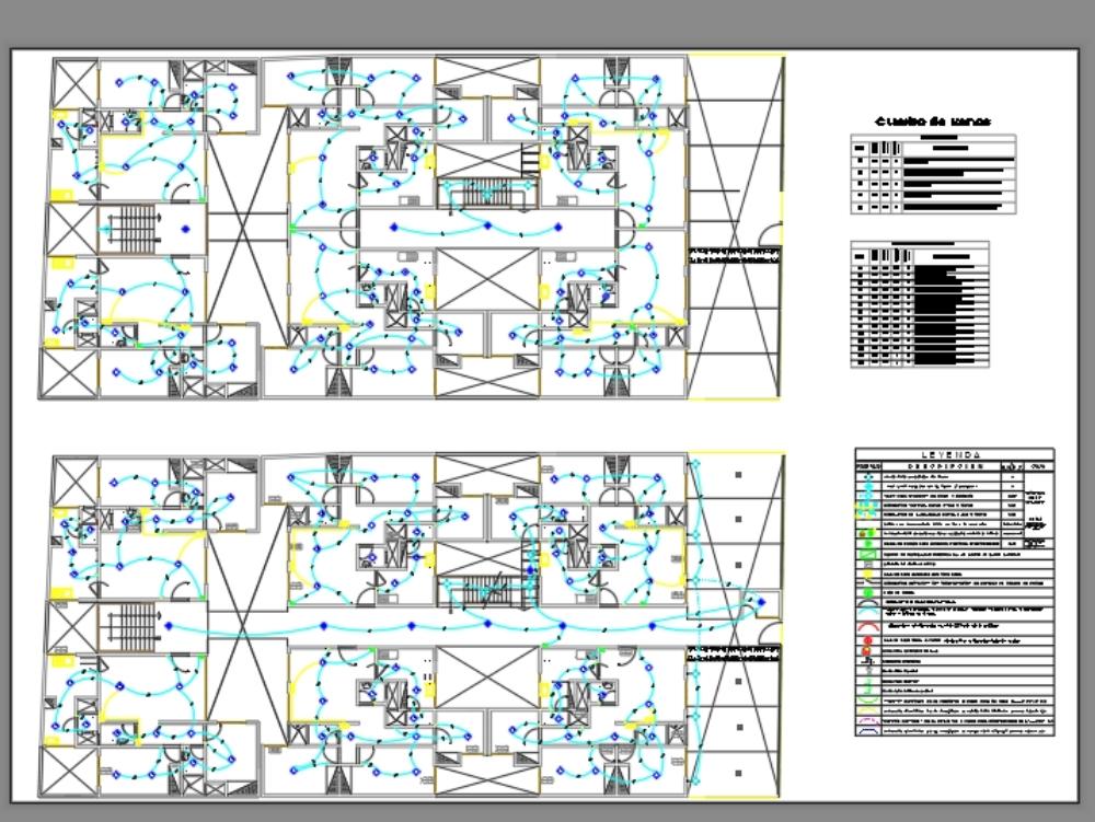 Electrical plan of lighting in building