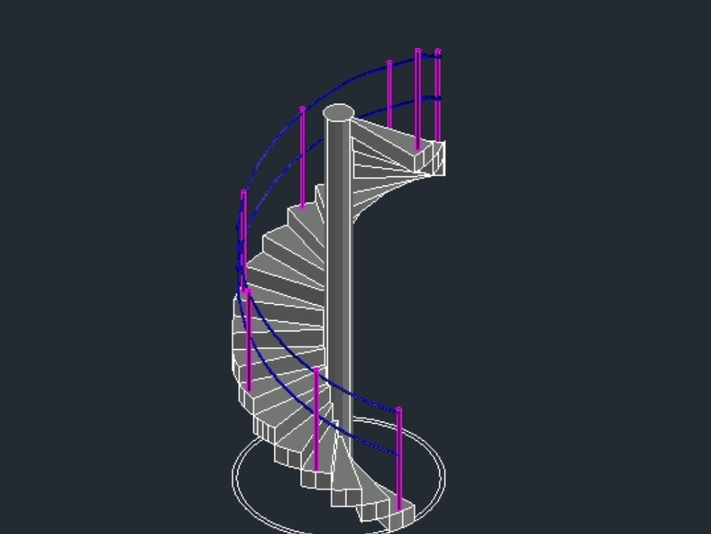 3d spiral staircase round shape with precast steps