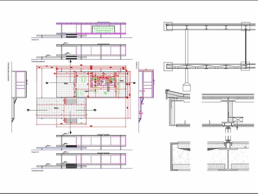 Casa farnsworth planos y lámina de detalles constructivos