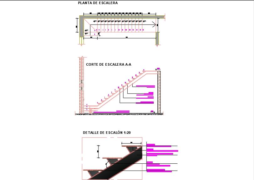 Escalera con estructura metálica