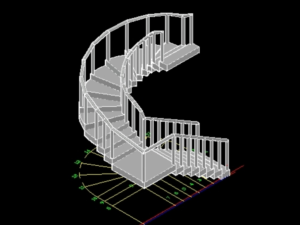 Stairs with radius and handrail in 3d