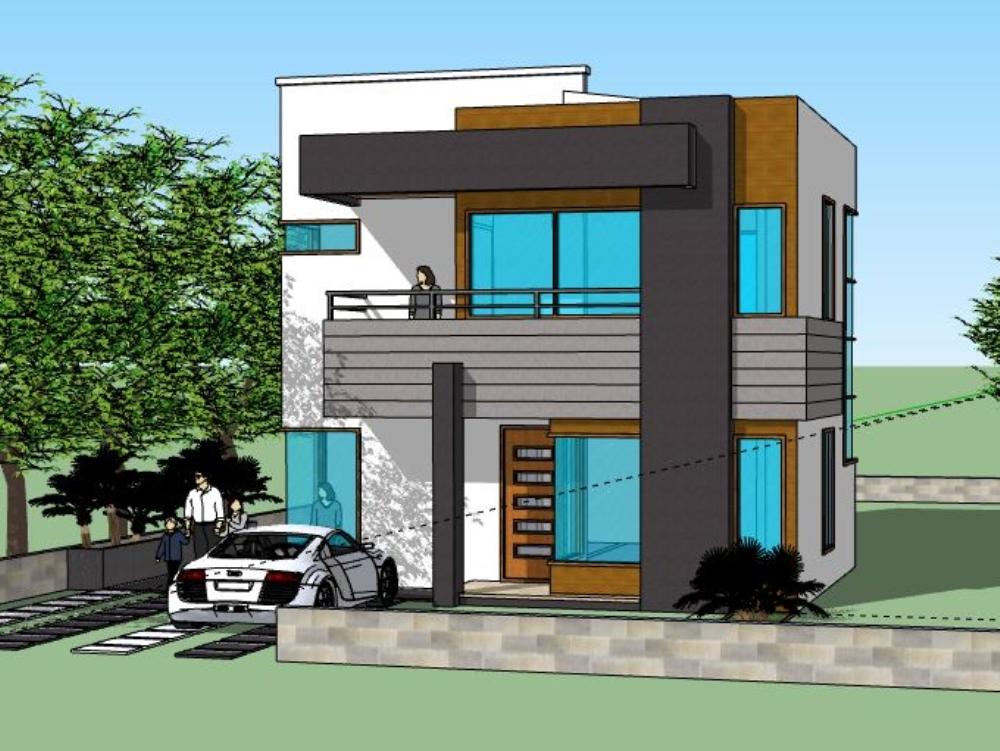 Sketchup casa minimalista modelo 3d
