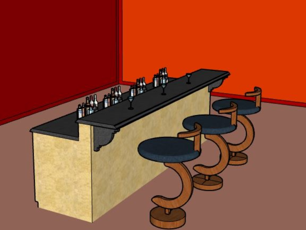 Chair for bar with materials 3d sketchup