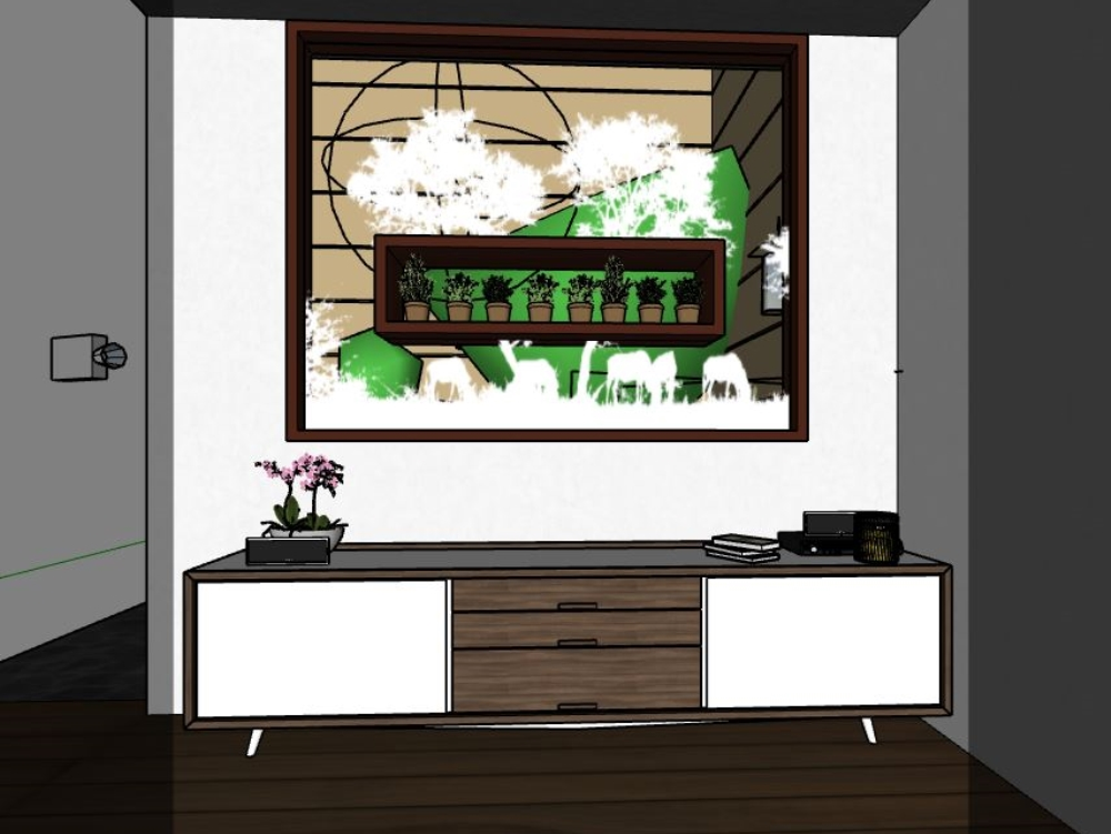 Ventana decorativa con vidrio arenado