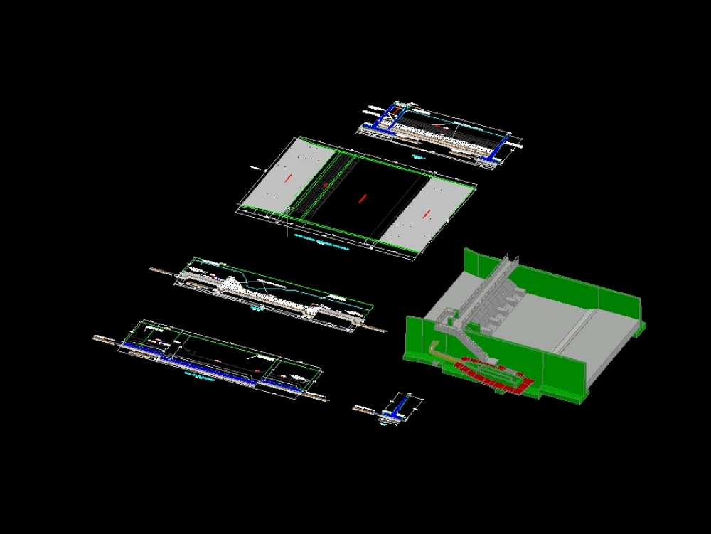 Bocatoma 3d con canal de derivación + desarenador 3d