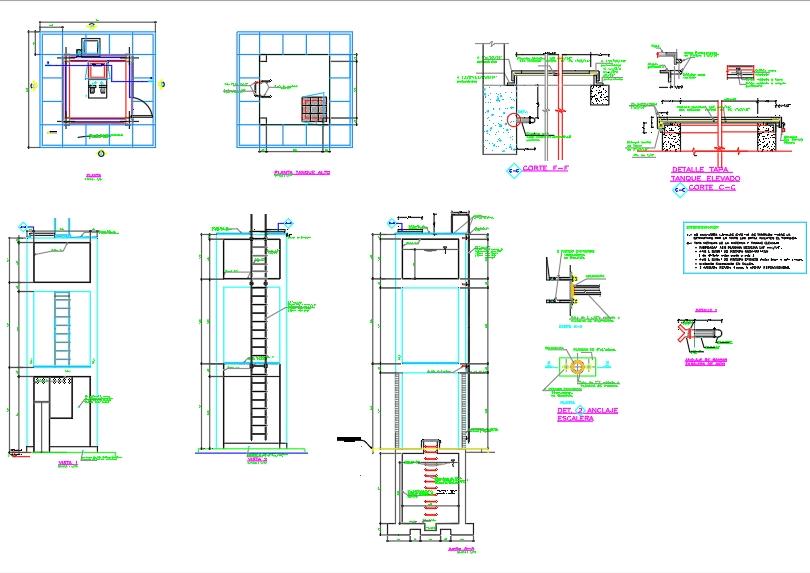 Tanque-cisterna de agua elevado arquitectonico