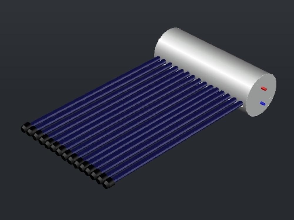 3d render of a 15 tube solar heater