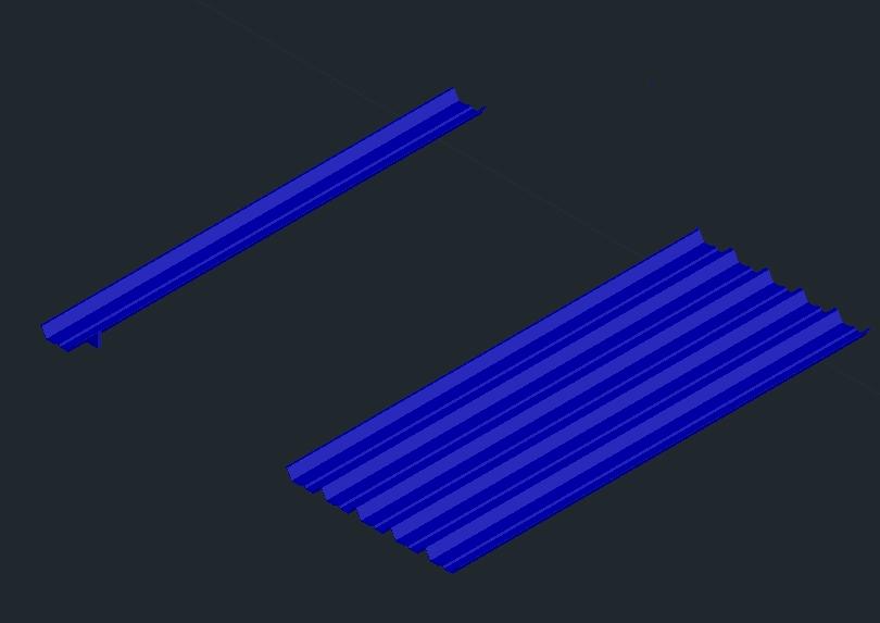 Chapa metálica con canal en 3d autocad