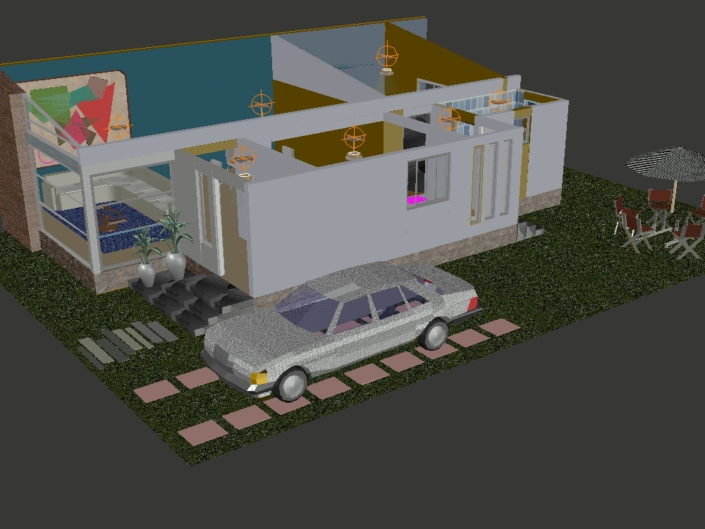 Casa habitación con jardín e iluminación