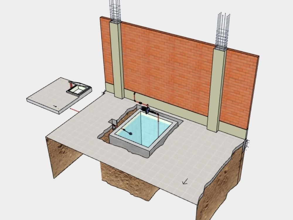 Underground water cistern and details