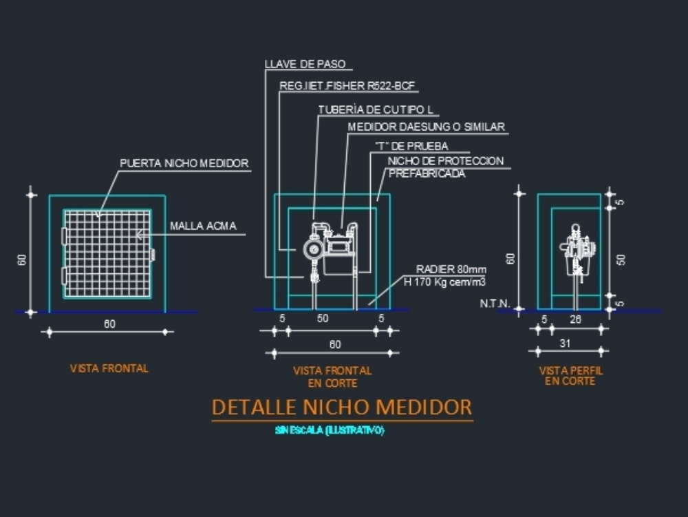Gas meter niche with specifications