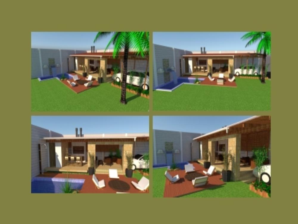 Churrasquera con piscina y jardin