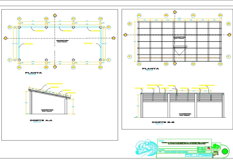 Plano de cobertizos 10x4.45 ovinos