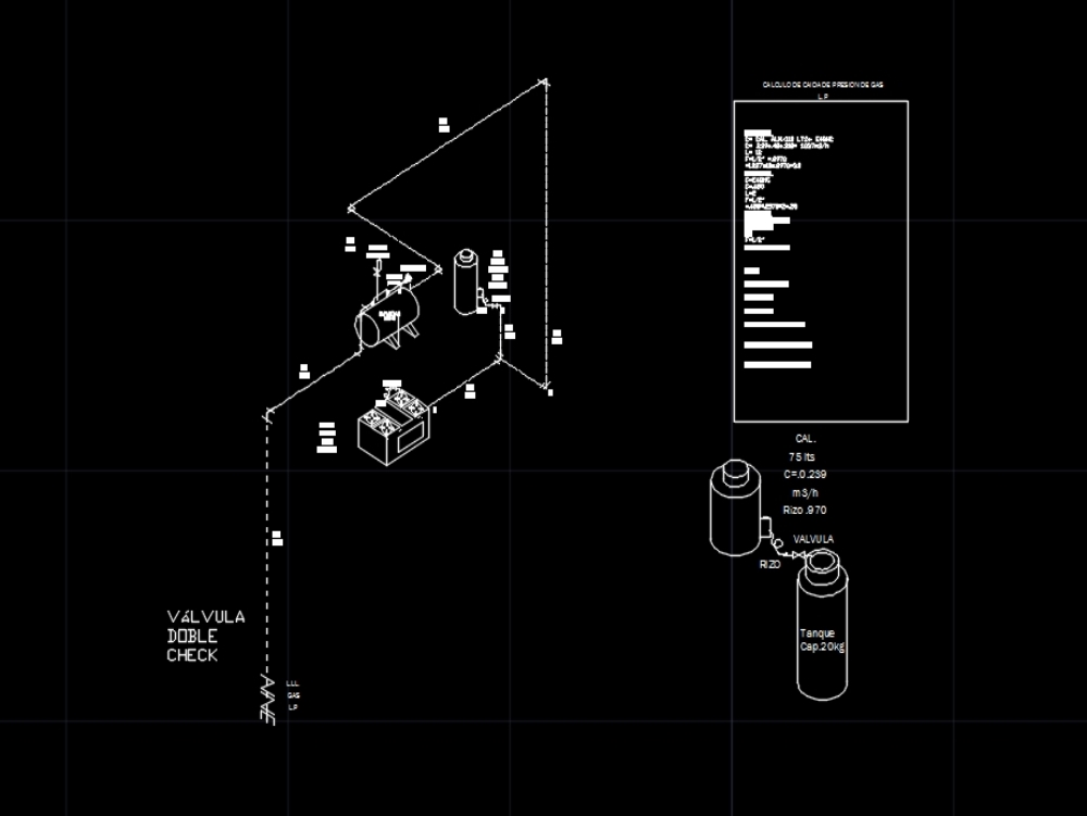 Isometric; calculation and details gas lp