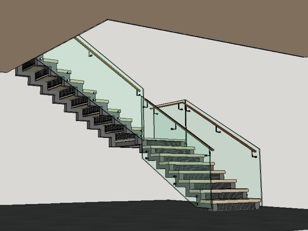 Metallic staircase in l with glass railing