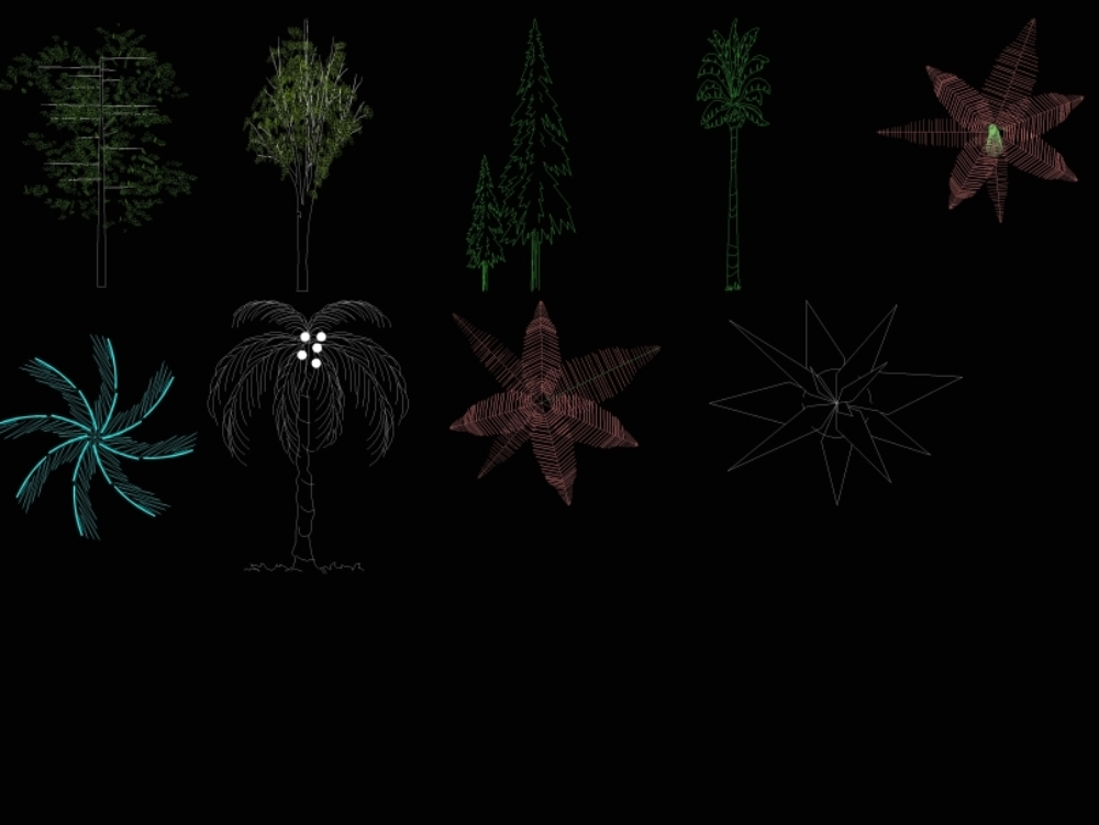 Drawings of trees and plants in dwg.