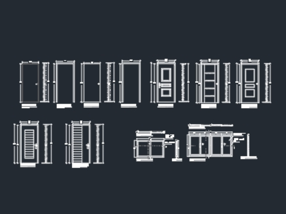 Details of doors and windows in plan and elevation