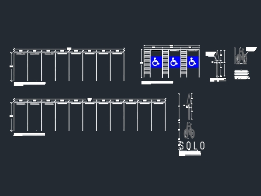 Parking details and road signs