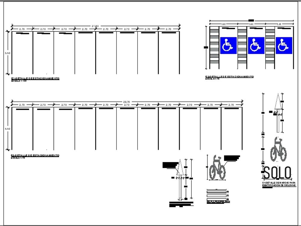 Detalles de estacionamiento y señalles viales