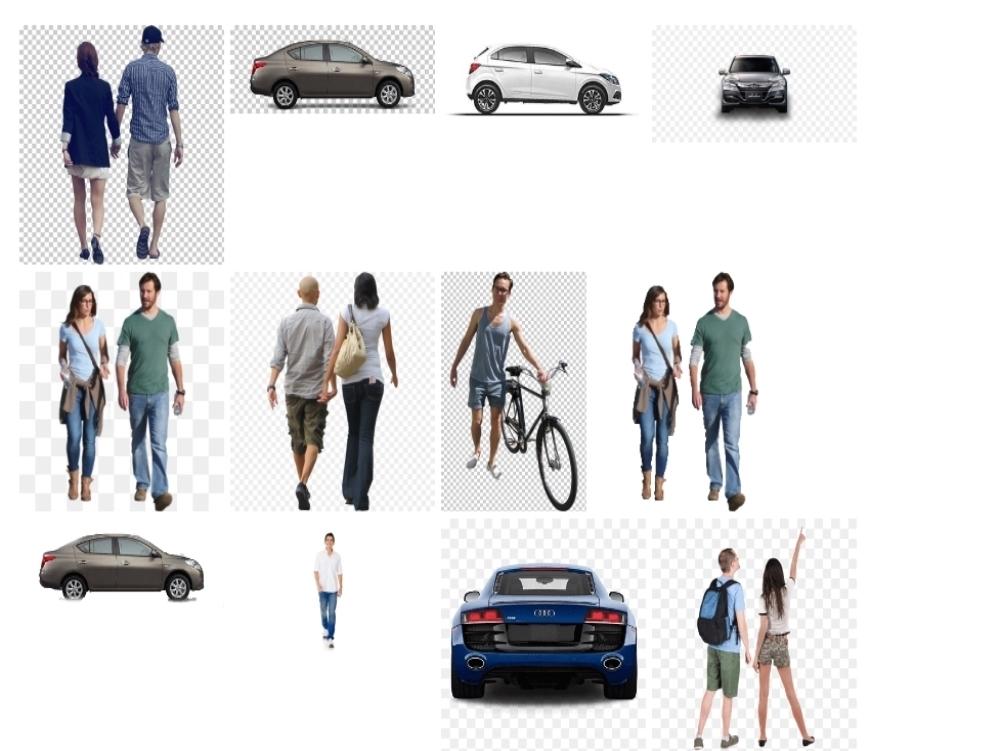 Personas y autos en formato png