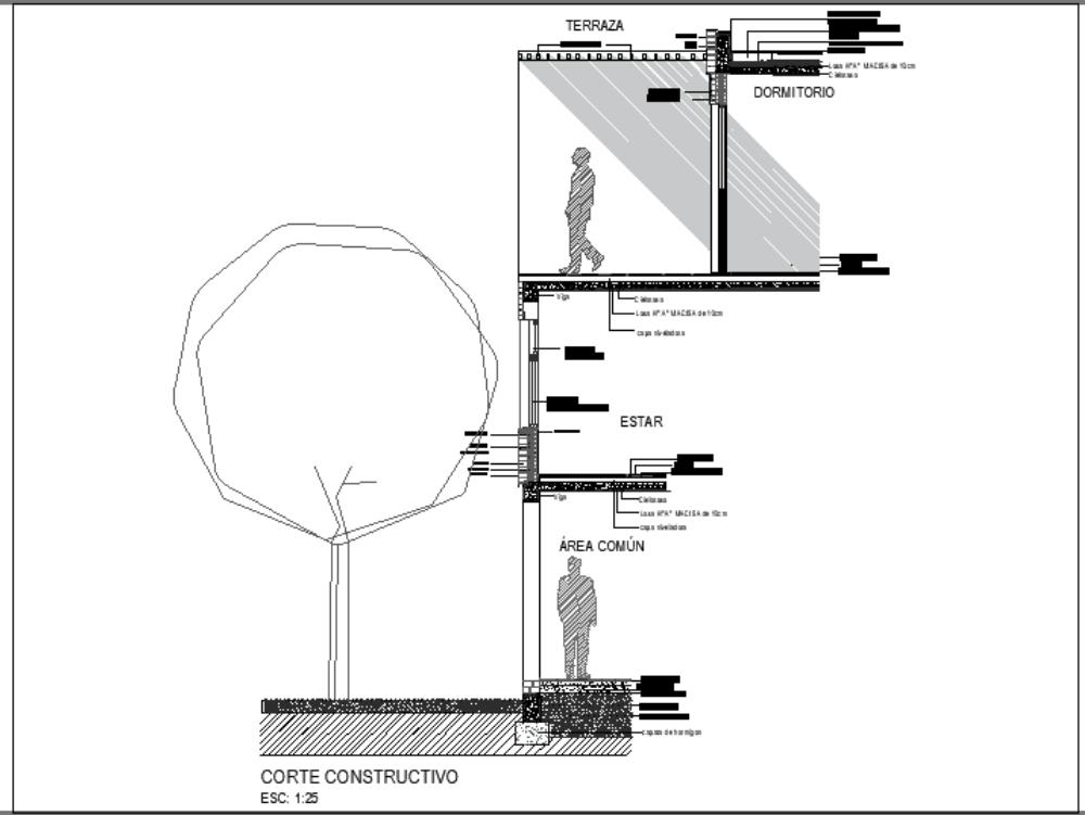 Corte constructo en escala 1.25 de una vivienda