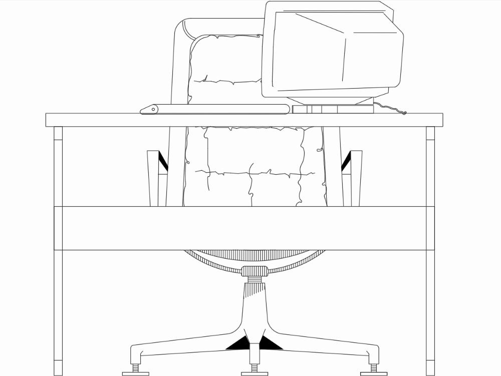 Mesa en alzado de una oficina con computadora