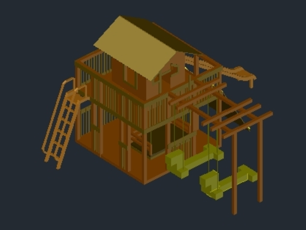 Compact children's playground in wood;