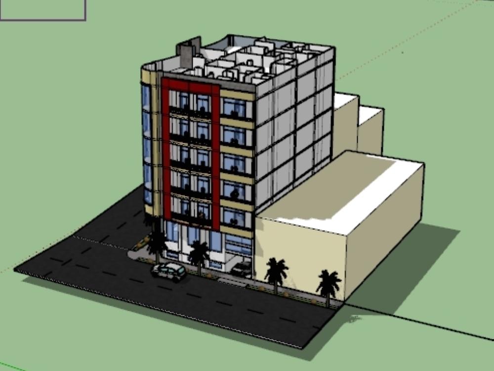 Modelado en  sketchup vivienda multifamiliar