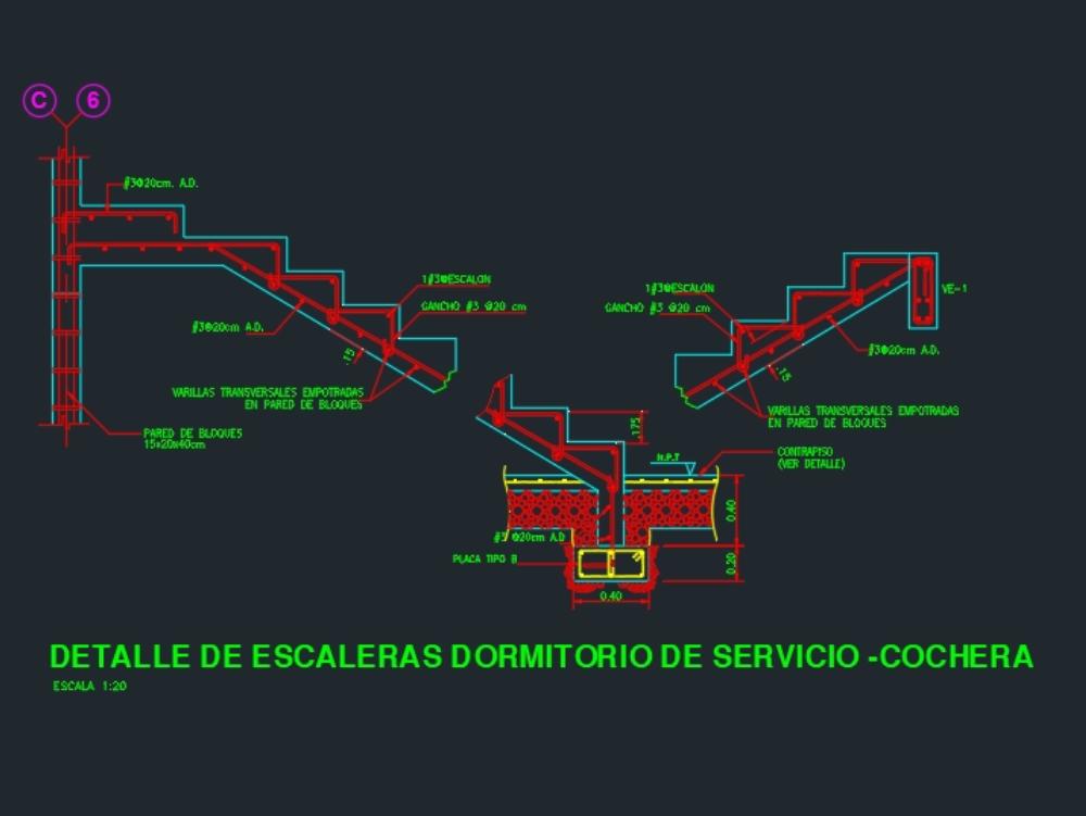 Detalle estructura de escalera concreto