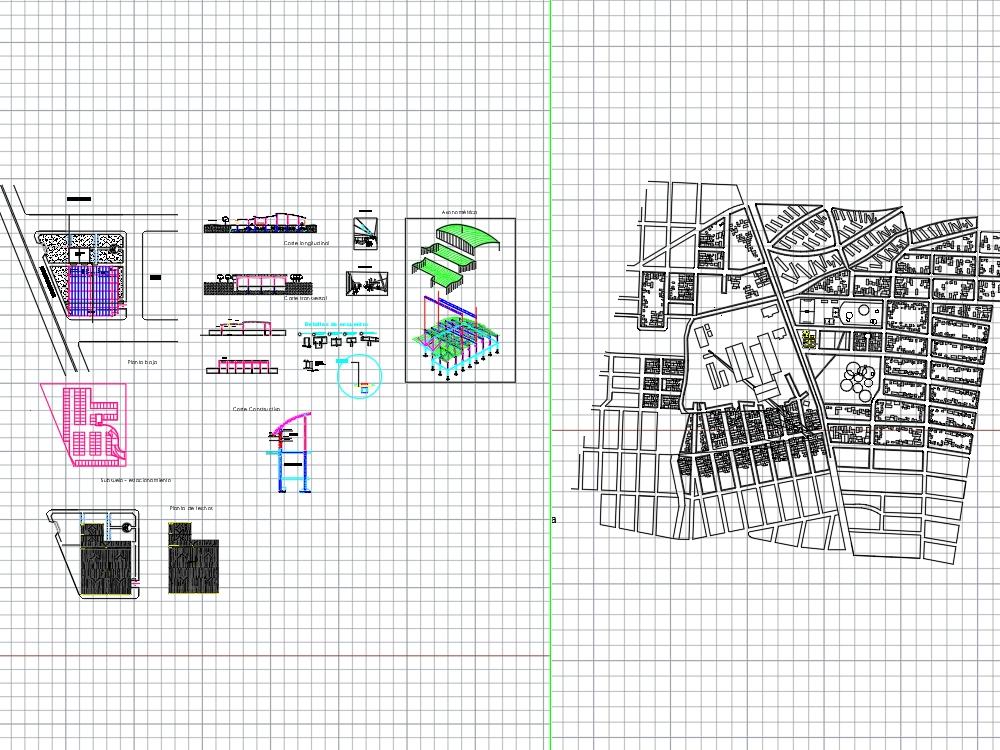 Estructura de un mercado feriante; plantas y cortes estructurales. implantacion