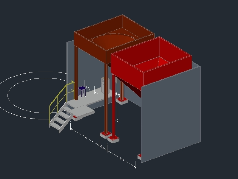 Design of 2 hoppers in 3d with ladder