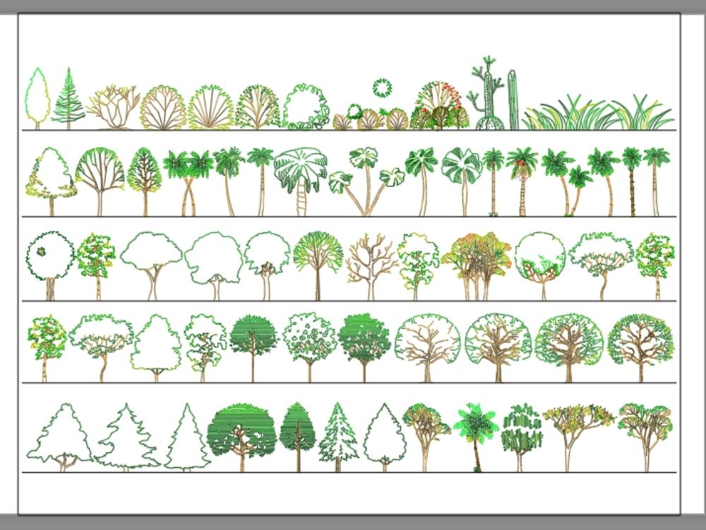 Bloque de cad de paisaje de árbol