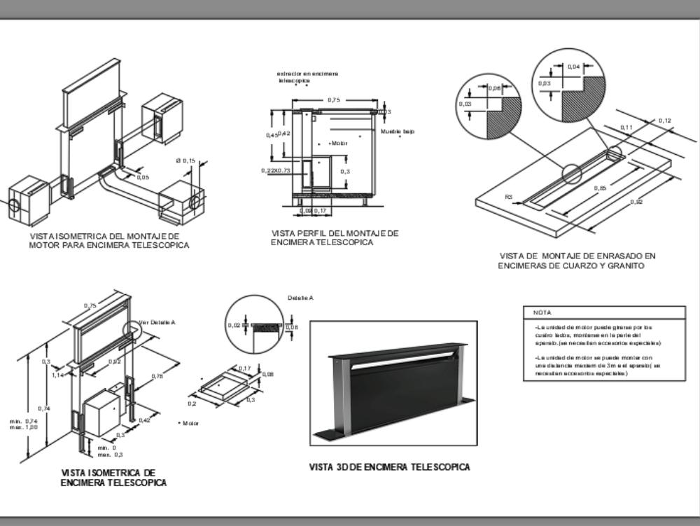 Telescopic worktop extractor detail