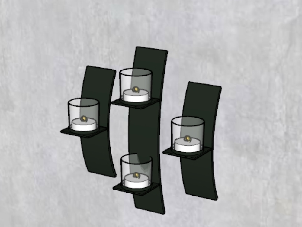 Iron candle holder with four candles