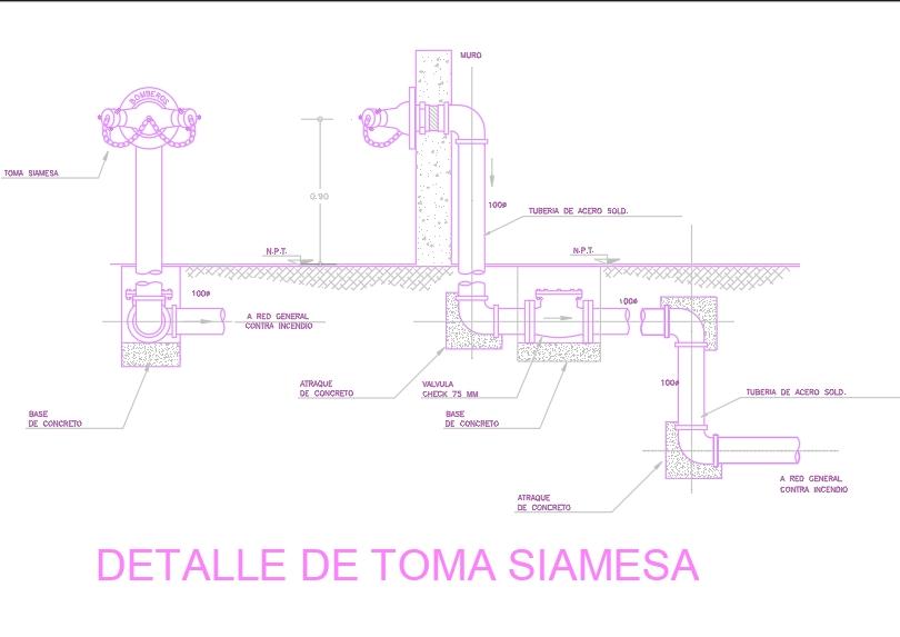 Detalle siamesa; en planta corte y 3d