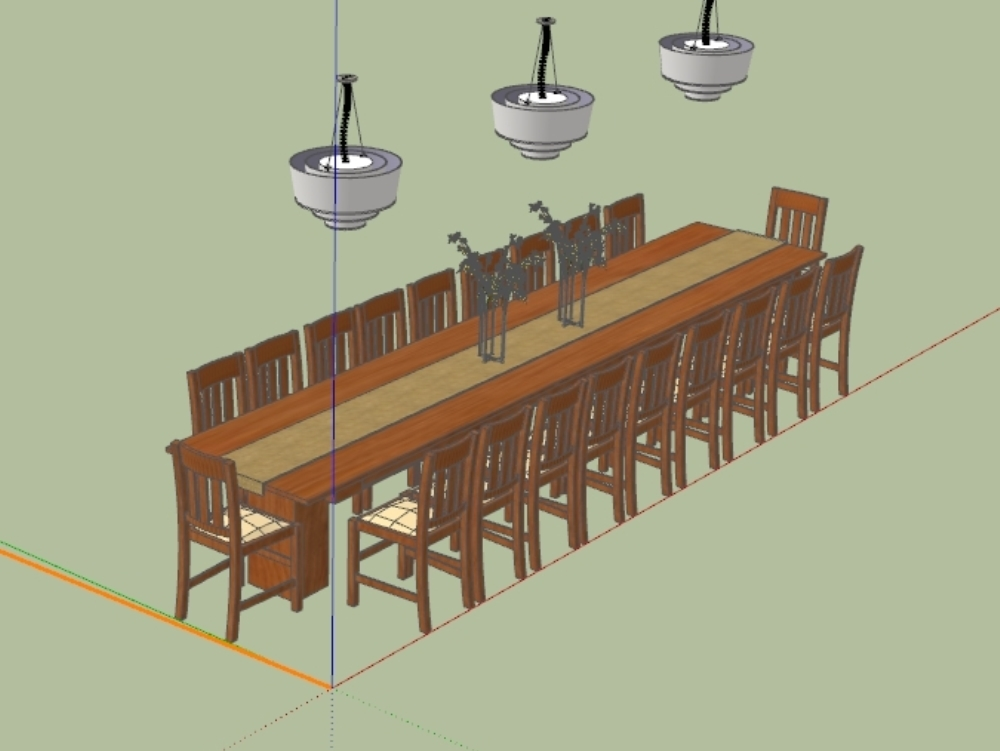 Large festive table with twenty chairs.