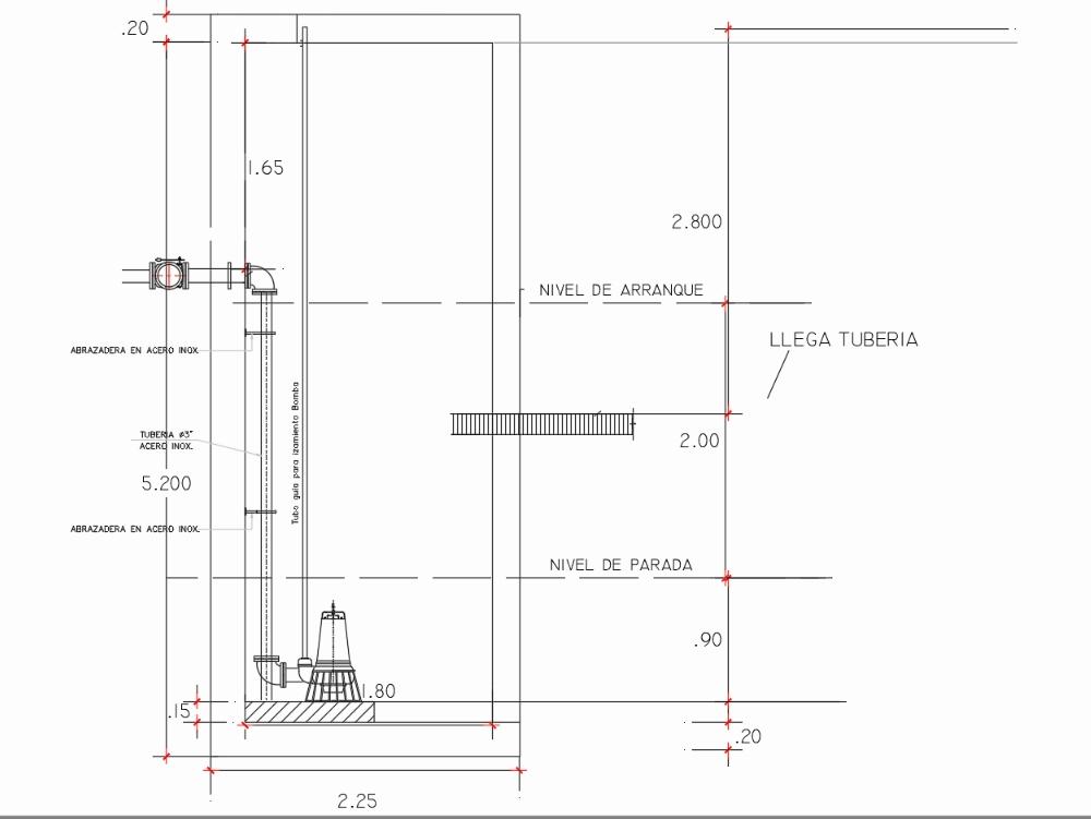 Detalle de pozo húmedo - arquitectura