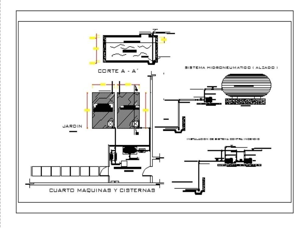 Hydropneumatic system and fire protection system