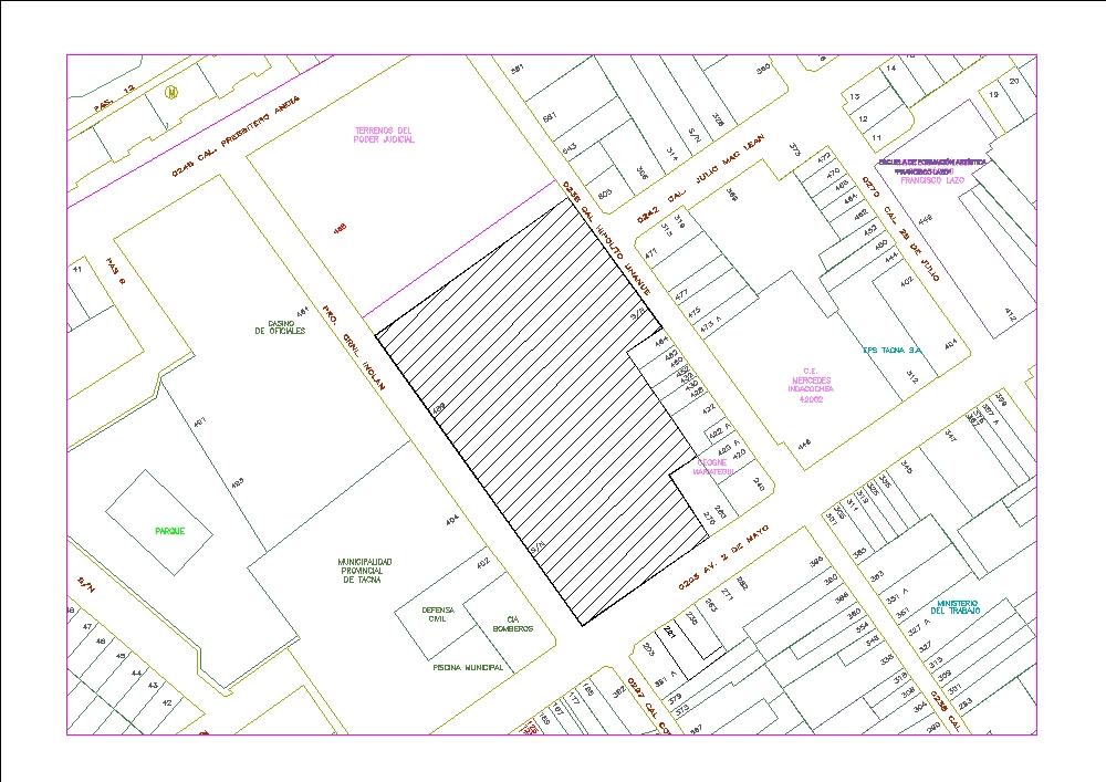 Plano urbano de la región de tacna