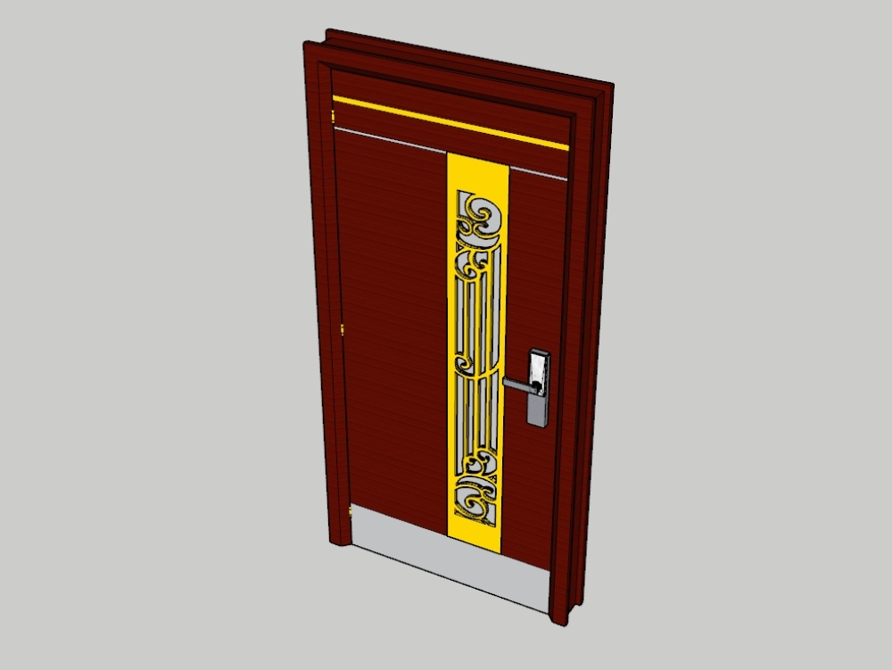Wooden door with golden decoration