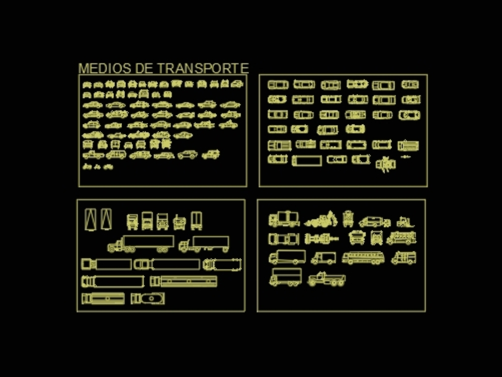 Blocks of different means of transport