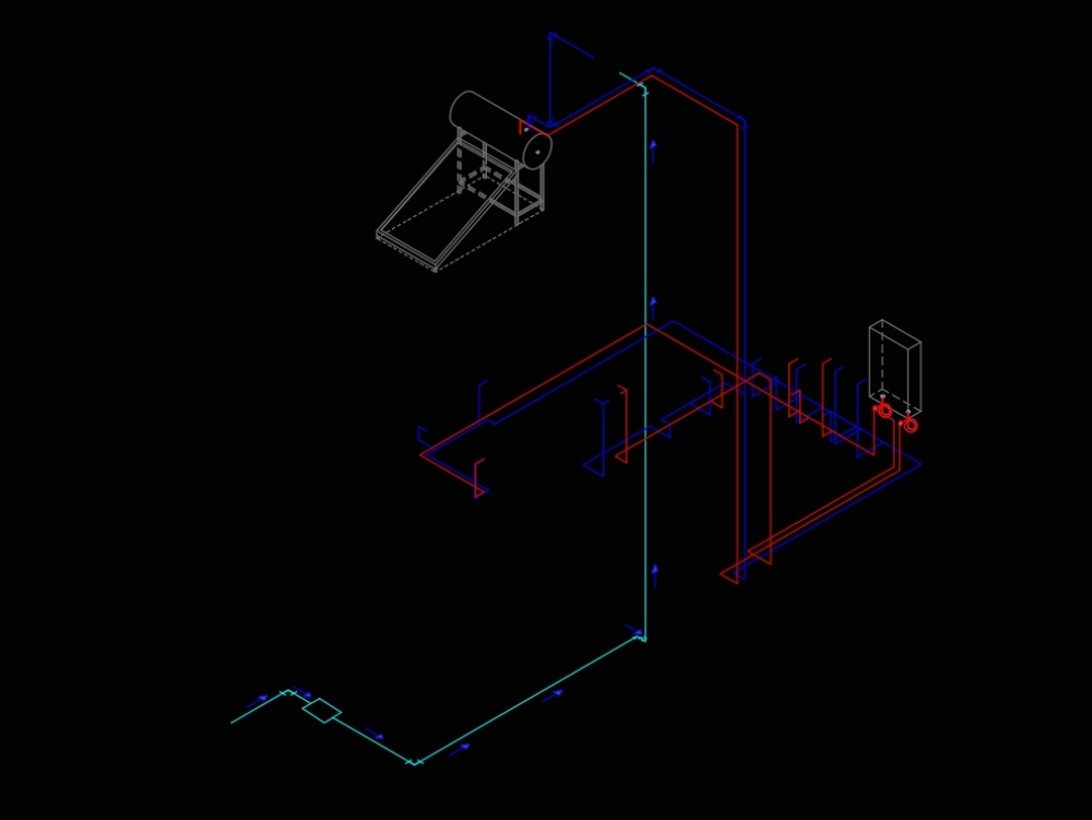 Isometric plan of installation of a short distance of water pipes for a bathroom