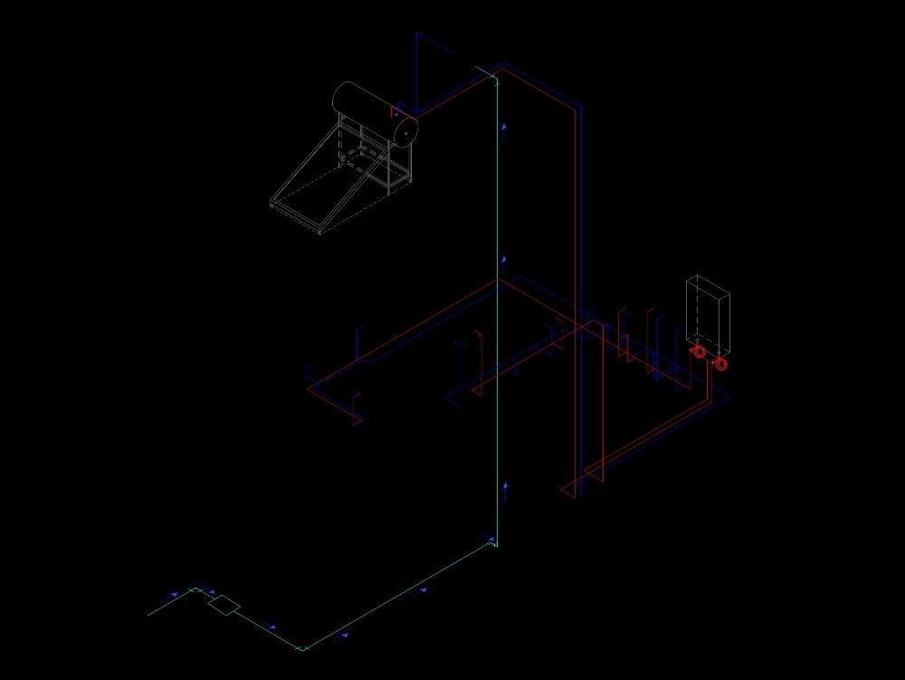 Plano isometrico de instalacion de una corta distancia de conductos de agua para un baño