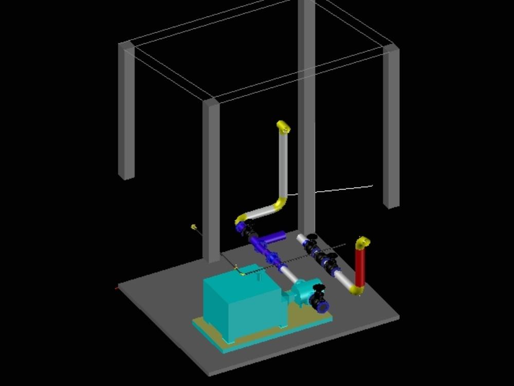 Modelado de bomba de sci  3d  en cisterna