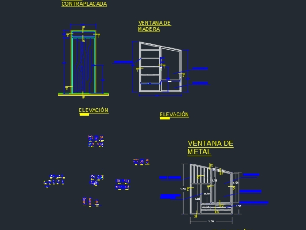 Detalles constructivos de ventana metálica.