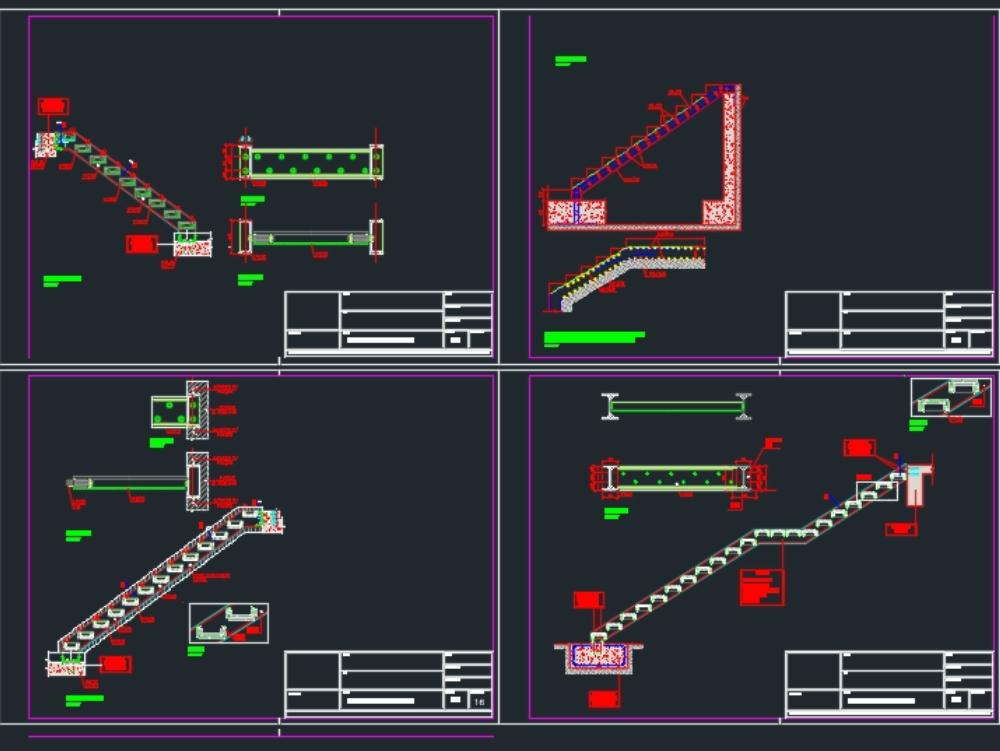 Escaleras metálicas con peldaños empotrados y sostenidas por vigas