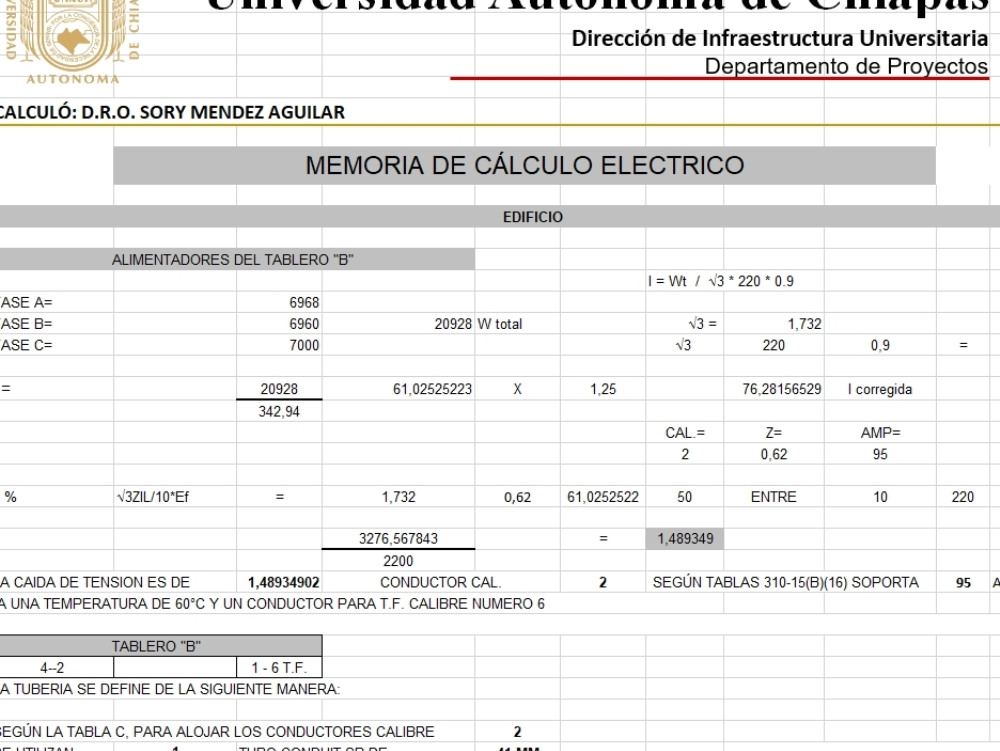 Electrical calculation memory in excel