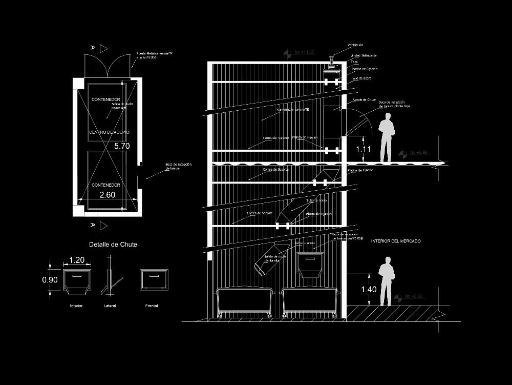 Garbage chute or shafts
